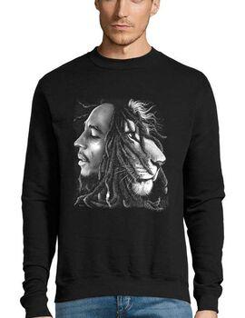 Μπλούζα Φούτερ με στάμπα Bob Marley Lion Rasta