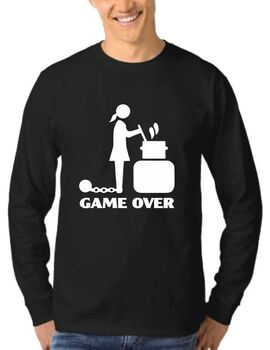 Mπλούζα φούτερ με στάμπα Game Over Cooking Woman Bachelor
