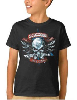 Παιδικό μπλουζάκι με στάμπα Scorpions Love, peace and rock 'n' roll