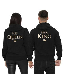 Μπλούζες φούτερ με κουκούλα Her King & His Queen Couple Hoodies Matching Couple Sweatshirt Set