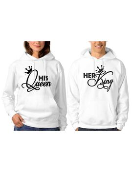 Μπλούζες φούτερ Her King His Queen Hoodie,couple matching hoodie, Couple hoodies, Couple sweatshirt,