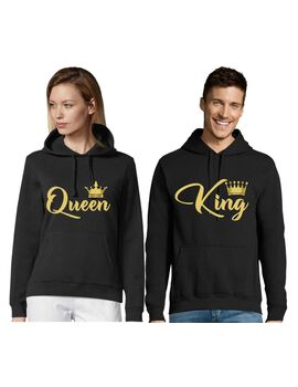 Μπλούζες φούτερ King Queen Hoodies Printed unisex Matching  Present