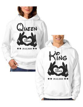 Μπλούζες φούτερ με κουκούλα KING and QUEEN  Hoodies with Hands and Wish Date Couple  ( η τιμή είναι και για τα δύο μπλουζάκια )