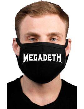 Υφασμάτινη μάσκα προσώπου Megadeth με 100% βαμβάκι , πολλαπλών χρήσεων με διπλό ύφασμα σε μαύρο χρώμα.
