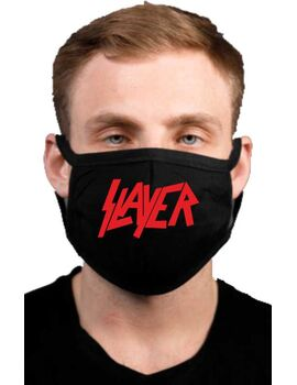 Υφασμάτινη μάσκα προσώπου Slayer με 100% βαμβάκι , πολλαπλών χρήσεων με διπλό ύφασμα σε μαύρο χρώμα.