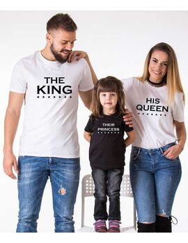 Μπλούζες με στάμπα The King His Queen Their Prince Their Princess Matching Family  Shirts