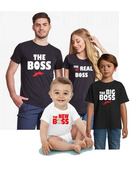 Οικογενειακό σετ με στάμπα The Boss, The Real Boss, The Big Boss and The New Boss