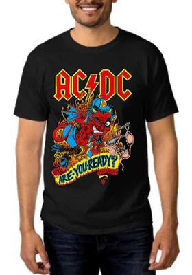 Rock t-shirt Black με στάμπα AC/DC Are You Ready