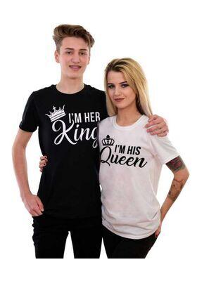 Μπλουζάκια με στάμπα I'm Her King- I'm His Queen, Her king his queen