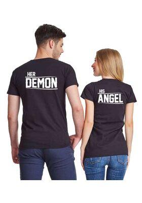 Μπλούζες για ζευγάρια Her Demon and His Angel His Angel, Her Demon, Couple Matching t-shirts