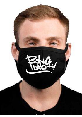 Υφασμάτινη μάσκα προσώπου BONG DA CITY με 100% βαμβάκι , πολλαπλών χρήσεων με διπλό ύφασμα σε μαύρο χρώμα.