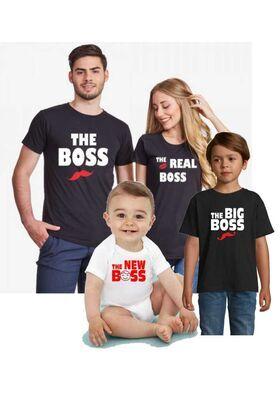 Οικογενειακό σετ με στάμπα The Boss, The Real Boss, The Big Boss and The New Boss