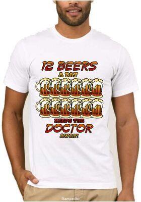 Χιουμοριστικό μπλουζάκι 12 beers a day keeps the doctor away