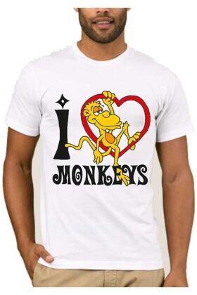 Αστεία T-shirts I love monkeys a5648