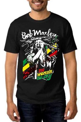 Rock t-shirt με στάμπα Bob Marley No Woman No Cry