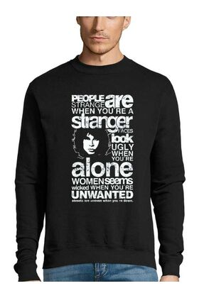 Μπλούζα Φούτερ Sweatshirt Rock με στάμπα Jim Morrison People are Strange When You're a Stranger