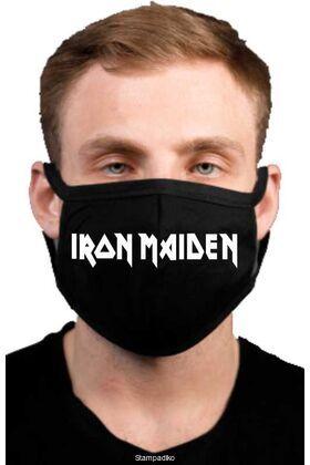 Υφασμάτινη μάσκα προσώπου Iron Maiden με 100% βαμβάκι , πολλαπλών χρήσεων με διπλό ύφασμα σε μαύρο χρώμα.