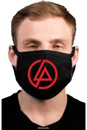 Υφασμάτινη μάσκα προσώπου Linkin Park με 100% βαμβάκι , πολλαπλών χρήσεων με διπλό ύφασμα σε μαύρο χρώμα.