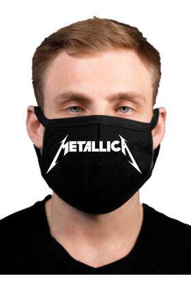 Υφασμάτινη μάσκα προσώπου Metallica  με 100% βαμβάκι , πολλαπλών χρήσεων με διπλό ύφασμα σε μαύρο χρώμα.