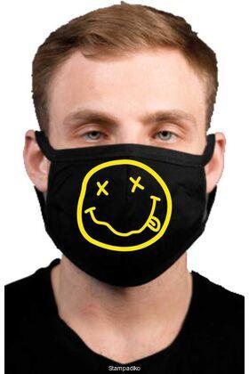 Υφασμάτινη μάσκα προσώπου Nirvana με 100% βαμβάκι , πολλαπλών χρήσεων με διπλό ύφασμα σε μαύρο χρώμα.