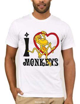 Αστεία T-shirts I love monkeys