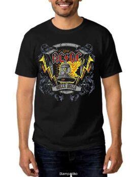 Rock t-shirt Black με στάμπα AC/DC Hells Bells