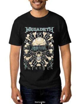Rock t-shirt Black Megadeth 13 Thirteen Skull & Bones