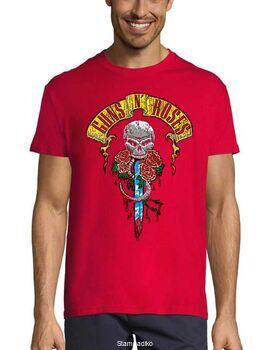 Rock t-shirt Red με στάμπα Guns N' Roses Skull Dagger