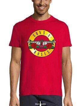 Rock t-shirt Red με στάμπα Guns N' Roses Distressed Bullet