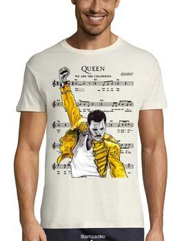 Rock t-shirt με στάμπα We Are The Champions Queen Freddie Mercury
