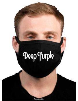 Υφασμάτινη μάσκα προσώπου Deep Purple με 100% βαμβάκι , πολλαπλών χρήσεων με διπλό ύφασμα σε μαύρο χρώμα.