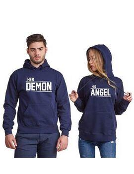 Μπλούζες φούτερ με κουκούλα για ζευγάρια Her Demon and His Angel His Angel, Her Demon, Couple Matching Sweaters