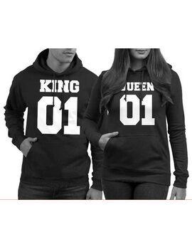 Μπλούζες φούτερ KING 01 QUEEN 01 Couple Sweater for You Queen 01 or for Him King 01