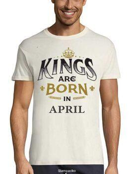 Μπλούζα με στάμπα γενεθλίων Kings are Born In April