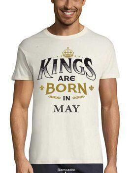 Μπλούζα με στάμπα γενεθλίων Kings are Born In May