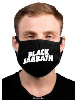 Υφασμάτινη μάσκα προσώπου Black Sabbath με 100% βαμβάκι , πολλαπλών χρήσεων με διπλό ύφασμα σε μαύρο χρώμα.