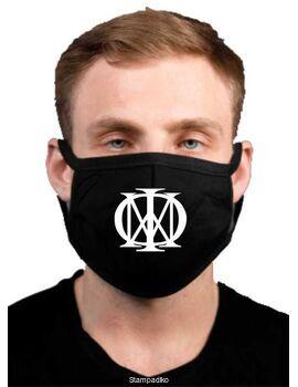 Υφασμάτινη μάσκα προσώπου Dream Theater με 100% βαμβάκι , πολλαπλών χρήσεων με διπλό ύφασμα σε μαύρο χρώμα.