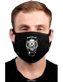 Υφασμάτινη μάσκα προσώπου Motorhead με 100% βαμβάκι , πολλαπλών χρήσεων με διπλό ύφασμα σε μαύρο χρώμα.