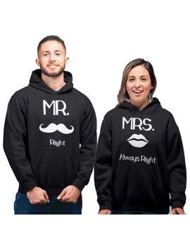 Μπλούζες φούτερ με κουκούλα Mr Right Mrs Always Right Set hoodies