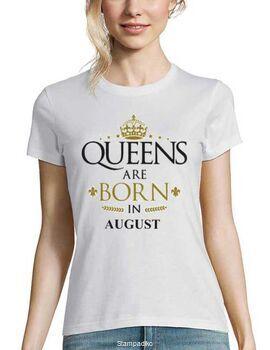Μπλούζα με στάμπα Queens are Born In August