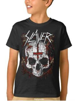 Παιδικό μπλουζάκι με στάμπα συγκροτήματος Slayer Ritual Skull