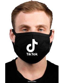 Υφασμάτινη μάσκα προσώπου Tik Tok με 100% βαμβάκι , πολλαπλών χρήσεων με διπλό ύφασμα σε μαύρο χρώμα.