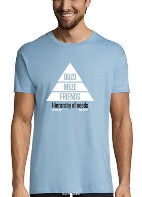 """""""Η πυραμίδα  του Μάσλοου: ουζο-παραλλαγή""""  / """"Maslow's hierarchy of needs: Ouzo variation""""  T-shirt (by tsou.gr)"""