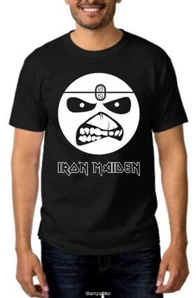 Heavy metal t-shirt με στάμπα Iron Maiden Eddie Smile